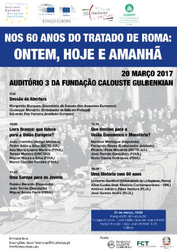 """Conferência """"Nos 60 anos do Tratado de Roma: Ontem, Hoje e Amanhã"""""""